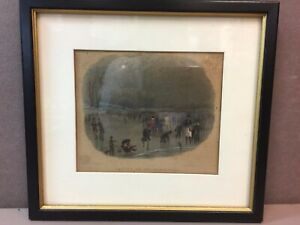 Skating on the Serpentine Framed English Aquatint Print by JW Archer & S Pearce