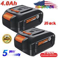 2x WA3525 20V 4.0Ah Replacement for Worx Max Lithium Battery WA3520 WA3578 WG163