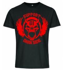 Support 81 Dark Side schwarzes T-Shirt mit 1 Farbigen 666 Skull Print