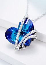 Anniversary Birthday Gift for Women Girls Wife Mother Love CRYSTAL Necklace BLUE