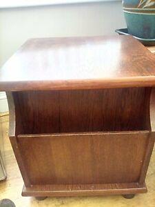 Small table/magazine rack dark oak