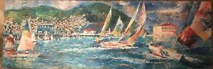"""""""Summer Days At Avalon"""" By Jorn Fox Signed Canvas 30x90 LARGE Rare.. Make Offer"""