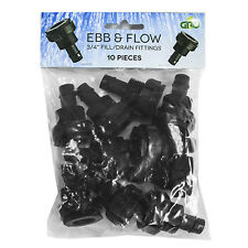 "10pc GROW1 3/4"" Fill/Drain Ebb/Flow BulkHead Fittings 10 Pack SAVE W/ BAY HYDRO"