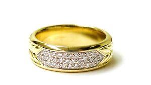David Yurman Men's 18K Yellow Gold Unique Signature Diamond Ring 1.02 CT F VVS