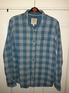 Fat Face 100% Cotton Long Sleeve Blue Check Shirt Size Large