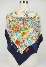Gucci Beige Silk Butterfly and Flower Print Square Scarf w/Blue Edge 536249 4178