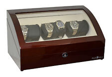 Pangaea Q650 Six Watch Winder with LED Light for 6 Watches Mahogany Finish