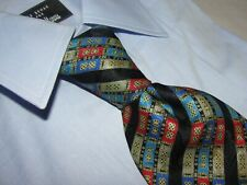 STEFANO RICCI Men's 100% Silk Necktie ITALY Luxury Geometric Multi Color