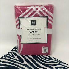 Pottery Barn Teen Dorm Infinity Stripe Pillowcases Cases 2 Bright Pink Standard