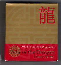 2012 $1 Coin 99.9% Fine Silver  - Lunar Year of the Dragon