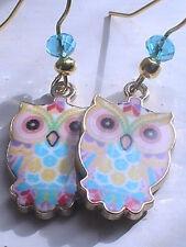 owl earrings GOLD colourful vibrant BLESSED spiritual bird SPIRIT ANIMAL night