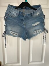 Ladies Denim Ripped Hotpants  Tie Side Blue Shirts Size 8