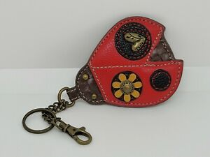 NEW CHALA Lady Bug Key Fob Keychain Handbag Purse Charm Faux Leather Metal Zip