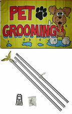3x5 Advertising Pet Grooming Yellow Flag Aluminum Pole Kit Set 3'x5'