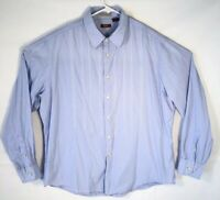 Nyne Men's 2XL Button-up Long Sleeve Blue Striped 100% Cotton Dress Shirt