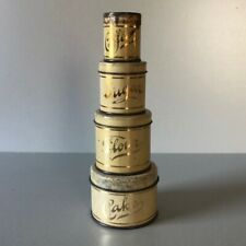 Antique Tin Toy KITCHEN SET Canisters Lithographed Set of 4 Empeco