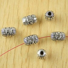 45Pcs Tibetan Silver Tone Oval Flowers Charms Spacer Beads 6.5x15mm