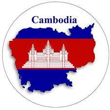 CAMBODIA MAP / FLAG - ROUND SOUVENIR FRIDGE MAGNET - NEW - GIFT