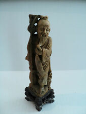 NICE 19th C. ANTIQUE CHINESE HAND CARVED SOAPSTONE ELDER FIGURINE
