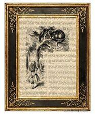 Alice in Wonderland Art Print on Antique Book Page Vintage Illust Cheshire Cat