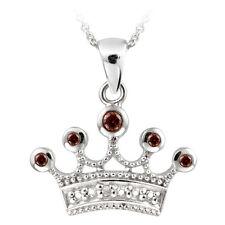 "925 Silver Garnet & Diamond Accent Crown Necklace, 18"""