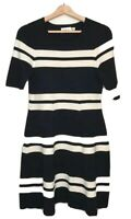 Eliza J Size 10 Knit Dress Black White Striped Short Sleeves Fit & Flare