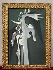 WIFREDO LAM OIL ON CANVAS PAINTING FRAMED SIGNED & STAMPED