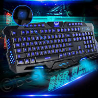 USB Wired Gaming Keyboard 3 LED Illuminated Backlight Multimedia Keyboard New UK