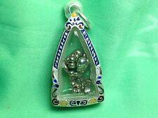 Rare Powerful Protection Thai Amulet Leklai Nganyuong Lp Somboon Silver Cased