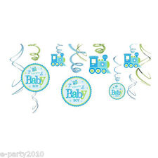 BABY SHOWER Welcome Little One BOY SWIRL DECORATIONS (12pc) ~ Party Supplies
