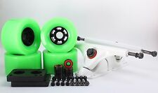 90mm 78a Neon Green Longboard Wheels and White Reverse Kingpin Truck Combo Set
