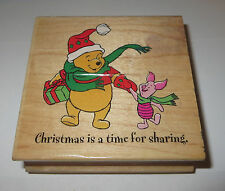 Christmas is a Time for Sharing Rubber Stamp WInnie the Pooh Piglet Santa Hat