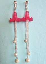 """4"""" LONG LOVELY PINK, PEARLY AND CHAIN DANGLES - CLIP ON EARRINGS (HOOK OPTIONS)"""
