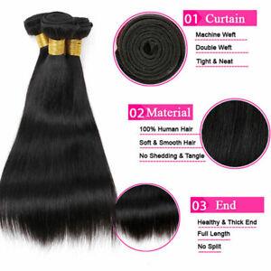 Peruvian Virgin human hair 3 bundles Straight hair natural color 12inch Weave