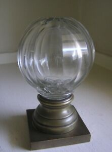 Cut Glass Newell Post Finial Bronze Crystal Paperweight