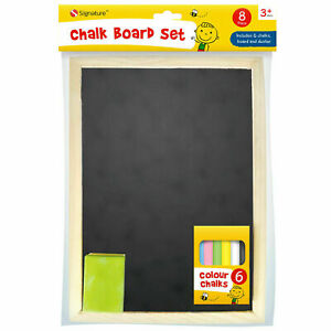 A4 Kids Chalkboard Set With Eraser Chalks Dry Wipe Blackboard Hanging Draw Board