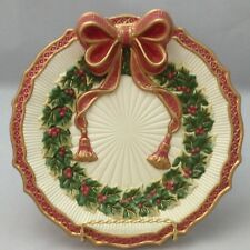 "Fitz And Floyd Christmas Plate 8"" Canapé Gold Trim Holly Berry Wreath Ribbon Bow"