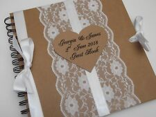 PERSONALISED VINTAGE WEDDING GUEST BOOK / ALBUM LACE & SATIN SHABBY CHIC KRAFT