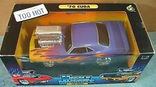 Muscle Machines 1970 Cuda Purple/Flames Car Real Braid Steel Line Die-Cast 1:18