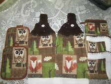 ***  7-PC. HANGING KITCHEN TOWELS+ OWLS AND FOX, BROWN CROCHETED TOPS **NEW