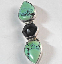 Mexico Darla Nordstrom PENDANT PIN COMBO SIGNED TURQUOISE ONYX .925 STERLING