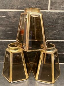 Vtg Amber ? Brass Beveled Glass Lamp Shade Globe Light Vanity Ceiling Fan 6-Side
