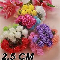 72pcs Foam Artificial 2.5cm Rose Flowers Wedding Bride Bouquet Party Decor UK