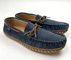 LL Bean Mens Wicked Good Original Slipper Moc Size 13 Storm Blue Deerskin Lined