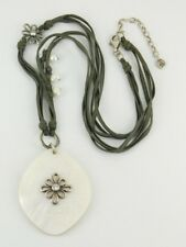 "Silpada Sterling Silver Pearl Shell Lucite CZ ""Grace Notes"" Necklace N2226"