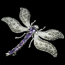 Sterling Silver 925 Genuine Natural Amethyst & Marcasite Dragonfly Brooch