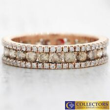 14k Rose Gold 1.75ct Chocolate White Diamond 4mm Wide Eternity Wedding Band Ring