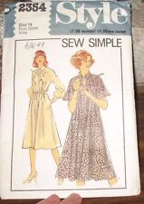 Style Sewing pattern no. 2354 Ladies short or long sleeved  dress  size 14 Vint