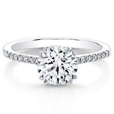 950 Platinum 0.63 Ct Round Cut Real Diamond Engagement Ring Size L