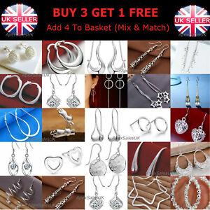 925 Sterling Silver Plated Crystal Drop Dangle Silver Hoop Stud Pearl Earrings
